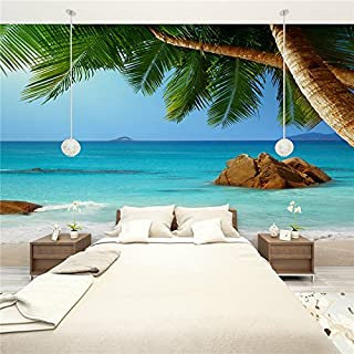 Large 3D Stereo Wallpaper Mural Coconut Beach View Bedroom TV Background Wall
