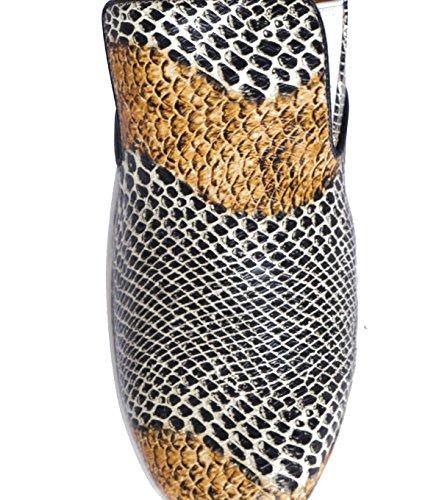 SUNCOO Damen Schuhe Slipper Sneaker - Glattleder Leder Muster mehrfarbig Blanc Casse