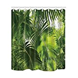Best Leaf Curtains - KOTOM Tropical Shower Curtains, Tropical Leaves Artificial Rainforest Review