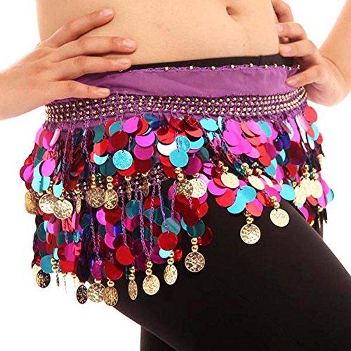 Colorful Bauchtanz Hüften Schal Chiffon Rock Wrap Gold Münze Taille Gürtel, Dunkel Violett, One Size
