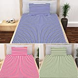#8: Story@Home 100% Cotton Single Bedsheets Combo Set of 3 with 3 Pillow Covers, 208 TC, Spark Collection, Bold Stripes - Blue, Red and Green