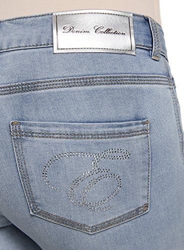 oodji Ultra Damen Jeans-Capri in Used-Optik Blau (7000W)