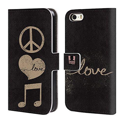 Head Case Designs Boutons De Joueur Tout De Musique Étui Coque De Livre En Cuir Pour Apple iPhone 6 / 6s Paix Et Amour