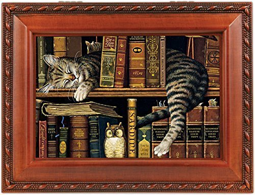 Cat Sleeping in library Wooden Music Box That's What Friends are For MB249 by Cottage Garden