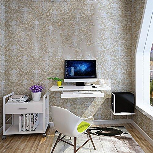 FEI Mur Accrochant De Bureau D'ordinateur Approprié Au Petit Appartement Noir, Bleu, Brun, Blanc, Bois (Couleur : Blanc)