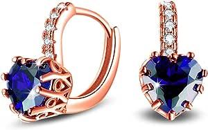 Uloveido, Orecchini pendenti placcati in oro rosa con zirconia cubica a forma di cuore di colore blu o rosso, con chiusura a leva, alla moda, codice: HE515