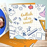Einschulung Einladungen, Rechenblock 5 Karten, Quadratische Klappkarte 145x145 inkl. weiße Umschläge, Orange