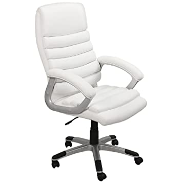 EMarkooz(TM) Manager Chair Executive Chair Office Chair Boss Chair Swivel  Leather Computer Desk Chair (White Extra Padding): Amazon.co.uk: Office  Products