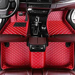 Tuqiang Auto-Fußmatten Leder Passt für Volks wagen Polo GTI 2012-2016 3D-Volldeckung Wasserdichte Bodenmatten Automatten Rot