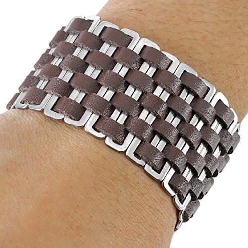MunkiMix Acier Inoxydable Genuine Leather Véritable Bracelet Bracelet Menotte Noir Brun Magnétique Fermoir Homme Brun