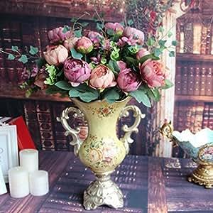 Soledì- 12 Testine di Peonia Fiori Artificiali Pittura a Olio, Fioritura in Seta, Bouquet Decorazione per Sposina Cerimonia Matrimonio Party Casa (Viola)