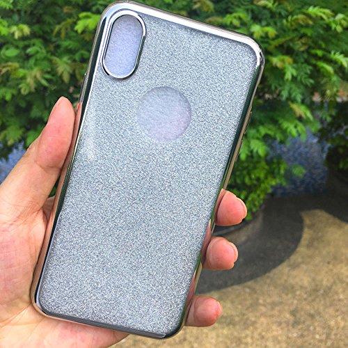 Sycode Custodia Cover per iPhone X,Custodia Bumper per iPhone X,Ultra Slim Resistenti Anti-scratch Soft TPU Silicone Gomma Gel Intarsiato Glitter Brillantini Bling Confine di Placcatura Disegni Traspa Argento
