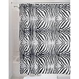 InterDesign Zebra Duschvorhang | Designer Duschvorhang mit Animal-Print | schöner Badewannenvorhang 180,0 cm x 200,0 cm im Safari-Look | Polyester schwarz/weiß