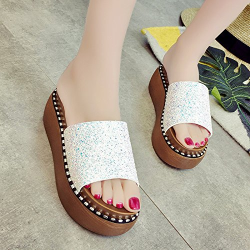 RUGAI-UE Cool pantofole fondo spesso pantofole tacchi alti scarpe da spiaggia White