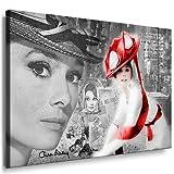 Audrey Hepburn Bild auf Leinwand - 100x70cm k. Poster / Bild fertig auf Keilrahmen ! Pop Art Gemälde Kunstdrucke, Wandbilder, Bilder zur Dekoration - Deko. Film / Movie / Tv Stars Kunstdrucke