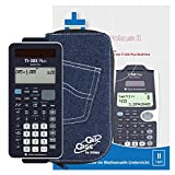 TI-30 X Plus MathPrint + Original CalcCase Schutztasche Jeans Dunkel + Arbeitsbuch: Im Fokus II: TI-30X Plus MultiView verständlich erklärt