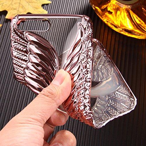 Wkae Geprägte Schwanmuster Galvanotechnik TPU Schutzhülle für iPhone 7 Plus ( Color : Black ) Rose gold