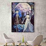 wojinbao Senza Cornice Cadavere Sposa Victor ed Emily Vincent Van Gogh Notte Stellata Ispirato Arte murale Tela Stampa Olio Stampa Immagine Decorazioni di Halloween 40x60cm