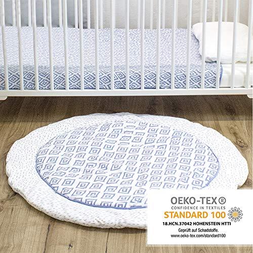 Emma & Noah Baby Krabbeldecke geprüft nach Oeko Tex Standard, rund, 100 cm Durchmesser, Boho, Raute, ideal als Spieldecke, Babydecke (Blau)