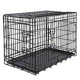 EUGAD Hundebox Hundetransportbox Transportbox Reisebox Faltbar Tier Box Katzenbox Metall 76 * 48 * 54cm schwarz 0202HT