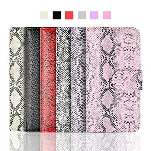Phone case & Hülle Für IPhone 6 / 6S, Snakeskin Textur Horizontale Flip PU Ledertasche mit Card Slot & Halter ( Color : Grey ) Black
