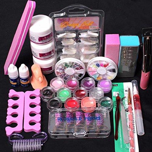 crylic Nail Art Tips Flüssig-Puffer Glitter Deco Werkzeuge Full Kit Set (Acryl-nägel Designs Für Halloween)