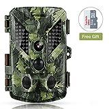 Abask Wildkamera Fotofalle 1080P 16MP mit Full HD Überwachungskamera IP67 Wasserdichte Jagdkamera 120°Weitwinkel Vision Infrarote 20m/65ft Nachtsichtkamera Digitale mit 2.4