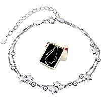 Damen Armband Elegant Perlen 925 Silber und Sterne Double Layered Armkettchen mit 925 Sterling Silber Armband Armkette…