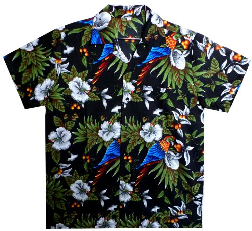 Funky-Camisa-Hawaiana-Parrot-Cherry-negro-M
