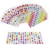 Aipark 54 Fogli Adesivi Etichette Adesive Cuore Stelle Colorati Sticker Decorazioni Scrapbooking Diario Foto Agenda Biglietti con Adesivi in Cristallo Strass Adesivo, Diametro 6 mm, 504 pezzi