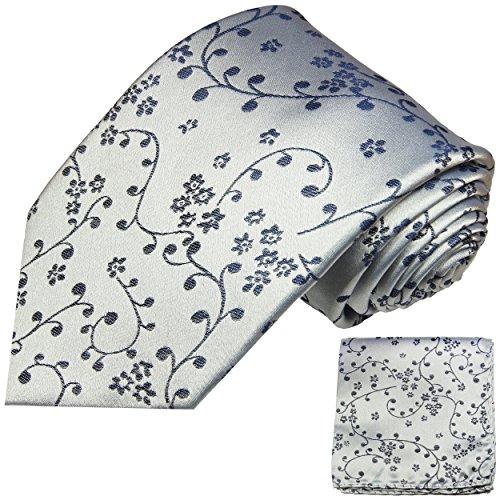 Cravate homme bleu argent ensemble de cravate 2 Pièces ( 100% Soie Cravate + Mouchoir )