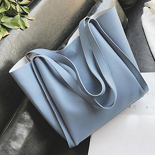 Longra Donna Due sacchetti un sacchetto di spalla di colore solido del cuoio dellunità di elaborazione Blu Venta Barata Extremadamente EQwhSR8