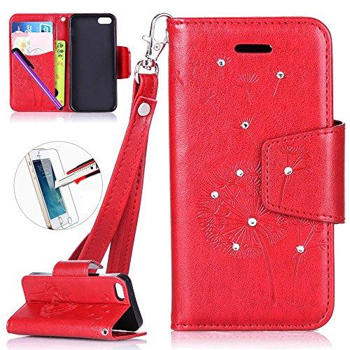 iPhone 55S se Support avec Bumper plaqué, newstars 3en 1Coque antichoc ultra fine Texture PC Coque arrière de protection rigide Shell Housse Coque protection tous les rond rotatif à 360° pour iPho X7- Red Glitter Dandelion