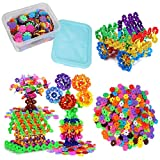 Steckbausteine Kinderspielzeug Spielzeug für Mädchen Junge Kinder Bausteine Kunststoff Schneeflocken 500 Stücke DIY Steckspiel Steckblumen Kreative Pädagogisches Lernspielzeug mit Aufbewahrungsbox