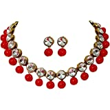 CATALYST Base Metal and Pearl Necklace With Earrings for Women & Girls