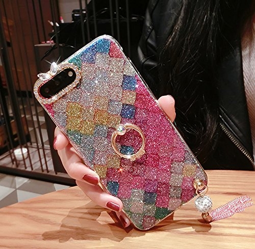 Case iPhone 6 Plus,iPhone 6S Plus Cover,Diamante Bling Glitter Lusso Cristallo Strass Morbida Rubber Full body [Rotazione Grip Ring Kickstand] con Supporto Dellanello Shock-Absorption Bumper e Anti-S Pattern 25