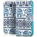 Saxonia Tasche Samsung Galaxy S5 / S5 Neo Hülle Flip Case Schutzhülle Handytasche mit Kartenfach Motiv Elefant