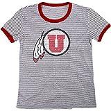 Blue 84 NCAA Utah Utes Women's Tri-Blend Retro Stripe Ringer Shirt, Large, Red