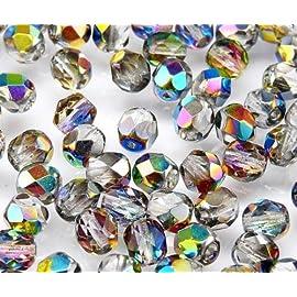 100pc Ceco Perle di sfaccettato vetro Fire-Polished Beads rotondo 4mm Jet Blue Iris