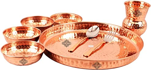 IndianArtVilla Hammered Traditional Design Copper Thali Multicuisine Dinnerware Set