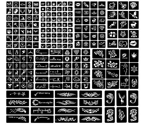 Gudotra 397 Pièces Pochoirs Tatouage Temporaire Pochoir Tatouage Ephemere Réutilisable pour Enfants Adultes Femme Homme (25 Feuilles)