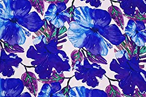 Tessuto al metro: Raso a fiori blu e viola