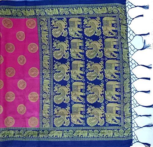 Winza Designer Jamawar Art Silk with Blouse Piece Saree (CHOTA HAATHI_Pink_Free)