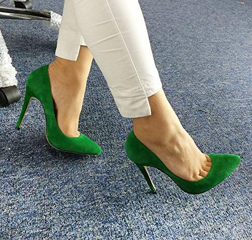 Wealsex Damen Pumps Bequeme Wildleder Stilettos Elegante Spitze High Heels Einfach Stil Damenschuhe Grün