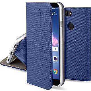 Moozy Hülle Flip Case für Huawei P Smart, Dunkelblau - Dünne magnetische Klapphülle Handyhülle mit Standfunktion