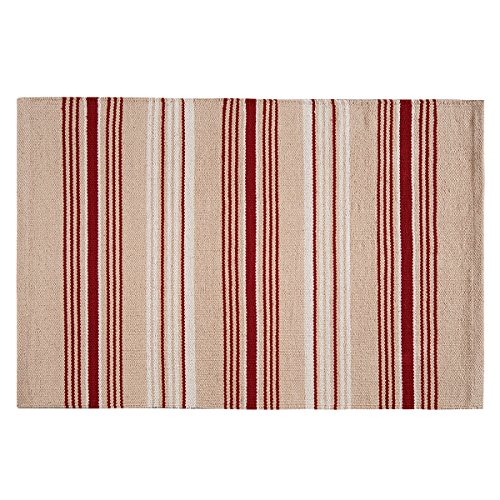 Red Stripe Teppich (C&F Home French Red Stripes Woven Rug Teppich, Baumwolle, rot, 2' X 3')