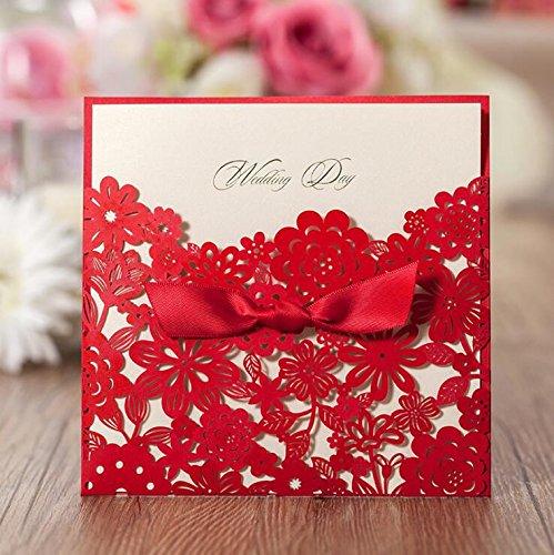 vstoy Laser geschnitten Hochzeit Einladungen Karten Kits Multi Flower für Ehe Verlobungsring Bridal...