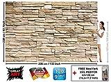 GREAT ART Foto Mural Pared de Piedra. Tapiz foto Óptica de piedras Decoración Muro de piedras Stonewall (336x238cm)