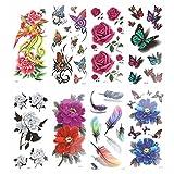 ROSENICE 8 Blätter Fake Tattoo Kleber Tattoo Rose Blume Phoenix 3D Feder