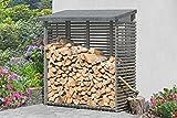 Gartenwelt Riegelsberger Kaminholzunterstand mit Rückwand L188 x B69 x H183 cm inkl. Dachpappe Beschläge und Montageanleitung Holzstapelhilfe Kaminholzregal